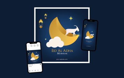 Idul Adha - Greeting Card Template Suitable for Print and Social Media