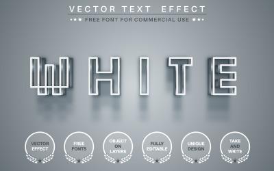 白色像素 - 可编辑的文字效果、字体样式、图形插图