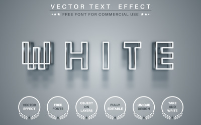 Vit pixel - redigerbar texteffekt, teckensnittsstil, grafikillustration