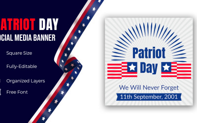 Hand Holding Usa Flag Over Blue Sky National Patriot Day United States Holiday Banner Social Media