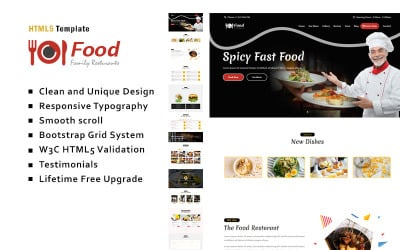 Food - Hotel & Restaurant Landing Page Template
