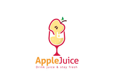 Fruit Juice Logo Concept For Apple Juice With Glass Vector Design.