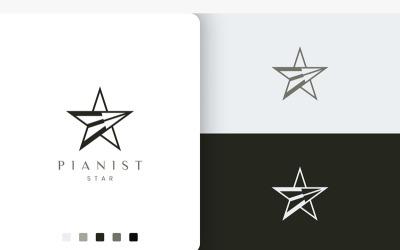 Modern Piano Player Logo in Star Shape