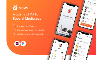 Social UI Kit Design - STIMS UI Elements