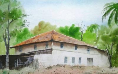 Aquarel Een huis dat ik tuin met mooi moment Handgetekende illustratie