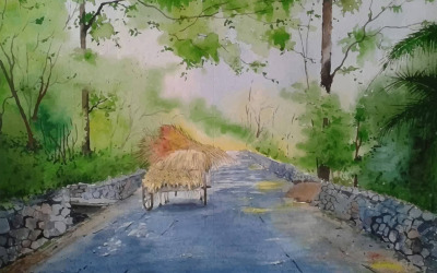 Watercolor Cow Car On The Village Road With Beautiful Scenery Hand Drawn Illustration
