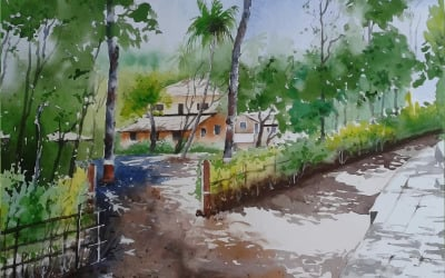Watercolor Park On The Road Side With Beautiful Scenery Hand Drawn Illustration