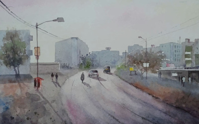 Watercolor Road In The  Highway Road With Beautiful Car Winter Morning Hand Drawn Illustration
