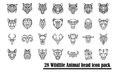 野生动物前视图头的线条艺术图标集