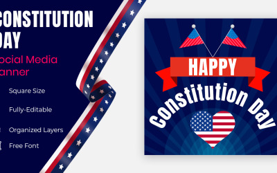 Banner Or Flyer Design For American Constitution Day Celebration Social Banner