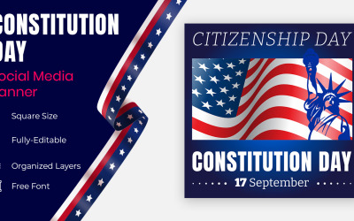 Constitution Day 17 September  Decorated With Stars In Usa Flag Color Social Banner Design.