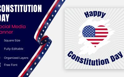 Constitution Day September 17 In United States Patriotic Social Banner Or Poster Design.