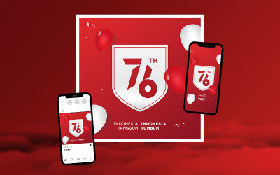 Merdeka - Template to Celebrate Indonesia's 76th Independence Day suitable for Social Media