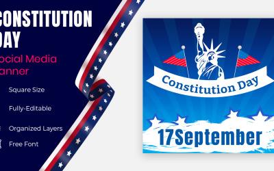 USA Constitution Day 17 September Calligraphy Social Banner Design.