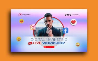 Live Streaming Workshop Youtube Thumbnail Social Media Post template