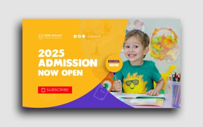 School Admission Youtube Thumbnail Template Social Media Post