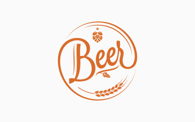 Beer Logo With Beer Hops Wheat