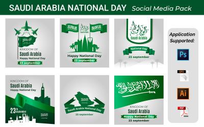 Kingdom Of Saudi Arabia National Day Celebration Posters Set, 23th Of September Social Banner