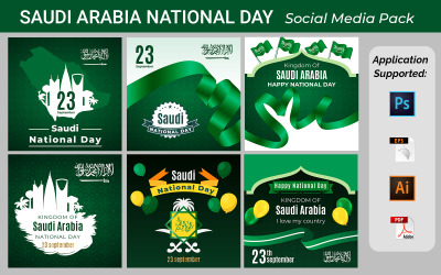 Saudi Arabia (National Day) Independence Day Vector Template Design Illustration Social Banner
