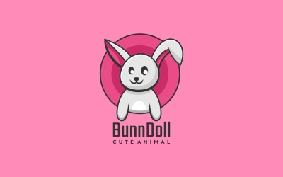 Bunny Doll Simple Mascot Logo