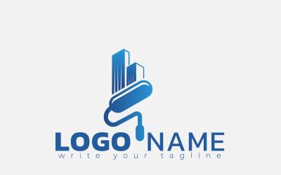 Paint Building Logo Concept For Home Decoration, Painting Service, House Construction