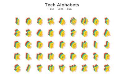 Tech Style Alphabet, Abc Typography