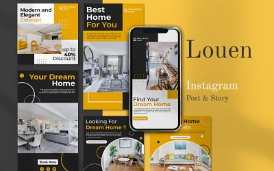 LOUEN - Social Media Post and Instagram Story Template