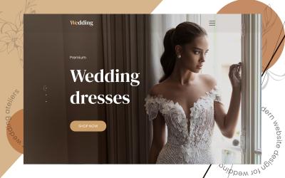 Esküvői ruhák Weboldal asztali és mobil verzió PSD sablon