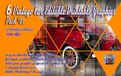 6 Vintage Car Editable Printable Graphics Pack 01 Product Mockup