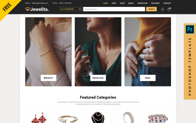 Jewelita - bezplatná šablona PSD pro eCommerce Photoshop