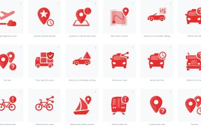 Conjunto de ícones de transporte e logística