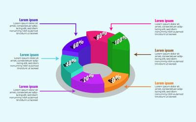 Isometric 3d Pie Chart Infographics Design Template