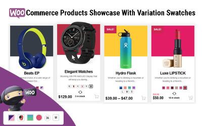 Ukázka produktů WooCommerce s variabilním vzorníkem WordPress