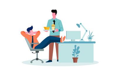 Relaks w przestrzeni biurowej Darmowa ilustracja koncepcja