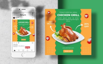 Special Food Chicken Grill Instagram Post Banner Template