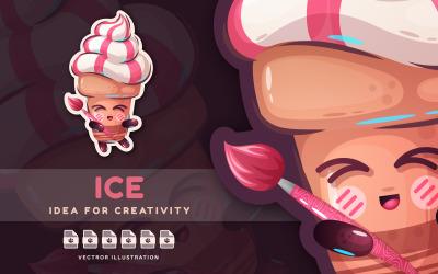 Художник по мороженому рисует кистью - милый стикер, графическая иллюстрация