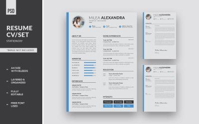Minimalist Clean Resume CV/Set Corporate Identity Template