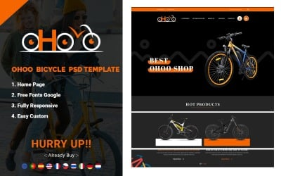 OHOO - Fahrrad E-Commerce PSD-Vorlage