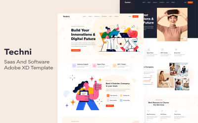 Techni - Saas And Software  Adobe XD Template