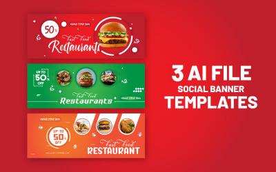 Paquete de diseño de banner de redes sociales de 3 alimentos