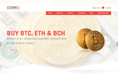 Ecoin - Cryptocurrency Bitcoin Website Template