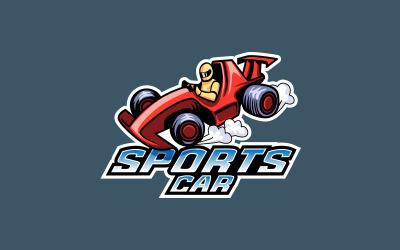 Sportwagen-Maskottchen-Logo, Formel-Auto-Logo-Vektor-Design