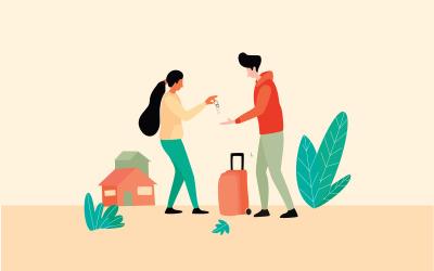 Vector de concepto de ilustración de entrega de llave de casa de alquiler gratis