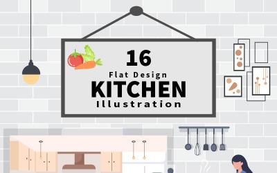 16 Küchenraum mit Möbel-Hintergrund-Vektor-Illustration