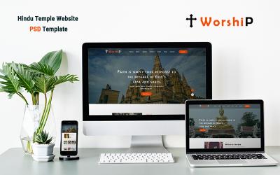 Uctívání - šablona PSD pro hindské webové stránky