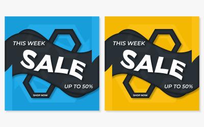 Fyrkantiga sociala medier försäljning banner mall design