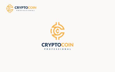 Шаблон логотипу крипто монети букви C