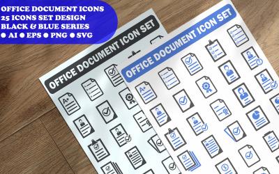 Modelo de conjunto de ícones de documentos de escritório