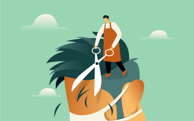 Fryzjer Cięcie Włosów Ilustracja Koncepcja Wektor