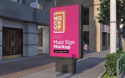 valla publicitaria mupi en la calle de la ciudad en la noche plantilla de diseño de representación 3d